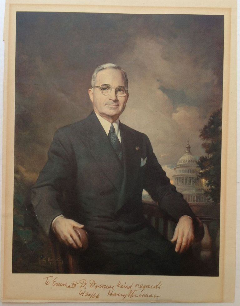 Three Signed Items -- a photograph, letter, and envelope. Harry S. TRUMAN, 1884 - 1972.