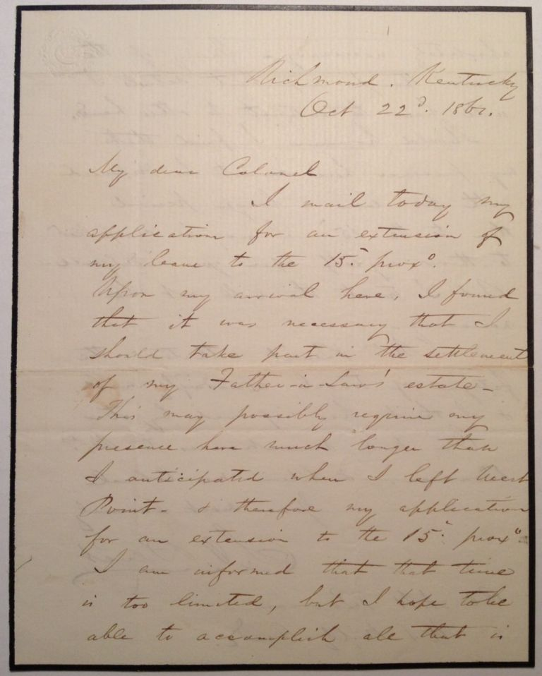 Autographed Letter Signed Requesting an Extended leave of Absence. Stephen Vincent BENET, 1827 - 1895.