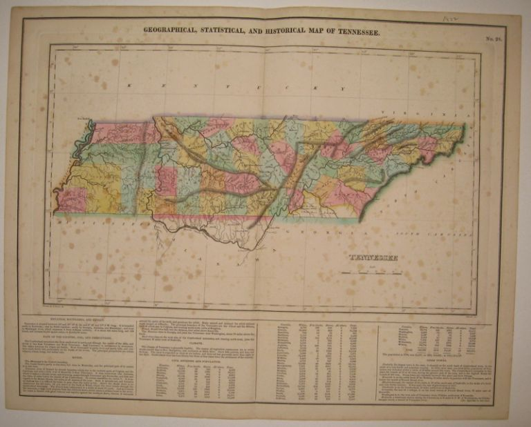Geographical, Statistical, and Historical Map of Tennessee. CAREY, LEA.