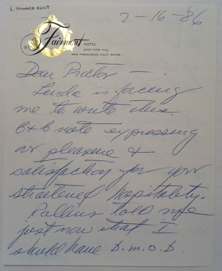 Cryptic Autographed Letter Signed. E. Howard HUNT, 1918 - 2007.