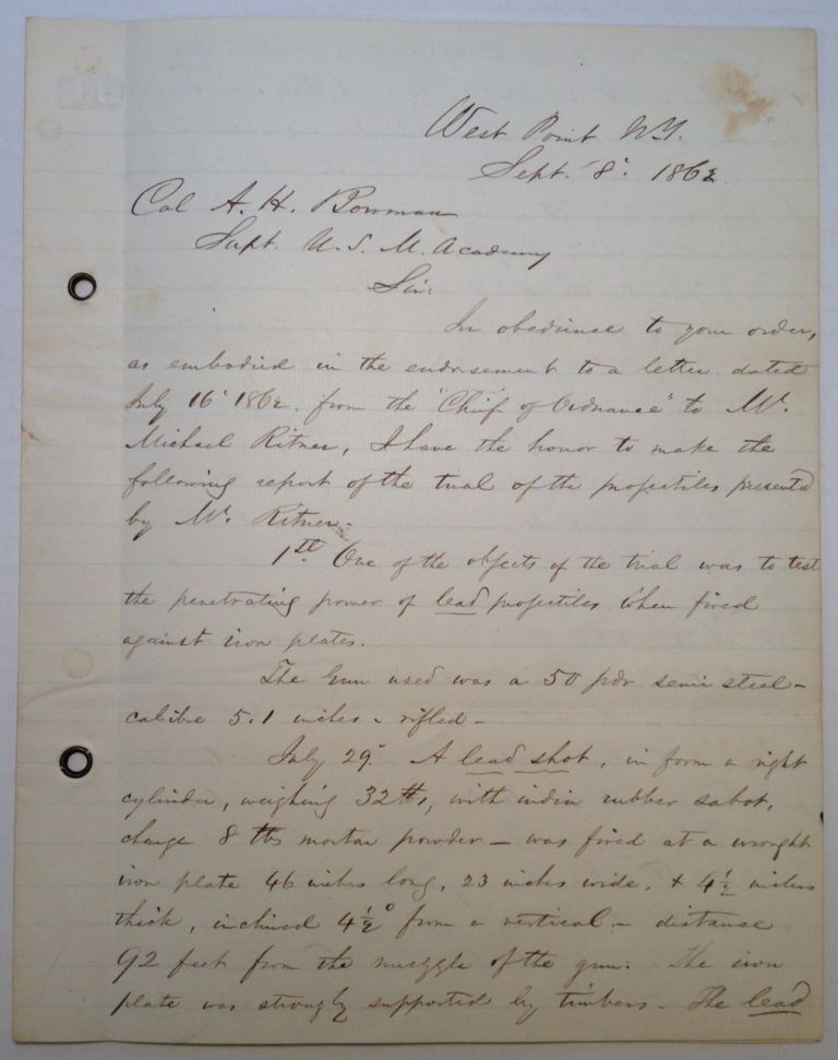 Important and Lengthy War-Date Letter from West Point about Weaponry. Stephen Vincent BENET, 1827 - 1895.