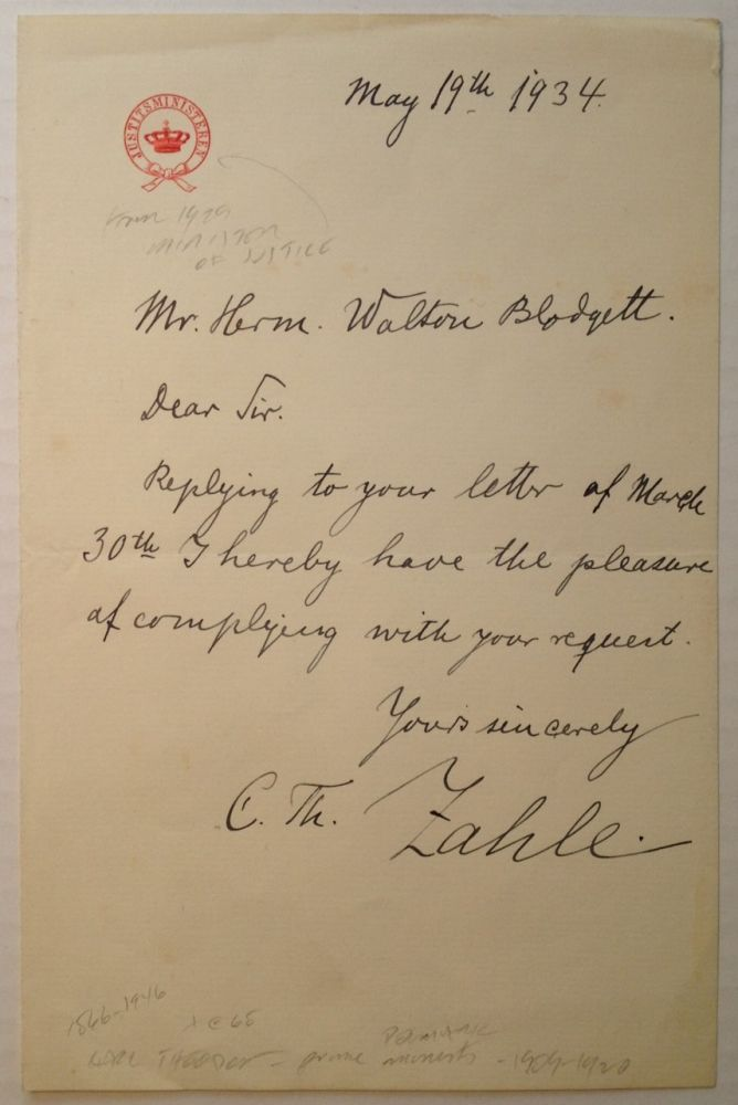 Autographed Letter Signed to an admirer. Carl Theodore ZAHLE, 1866 - 1946.