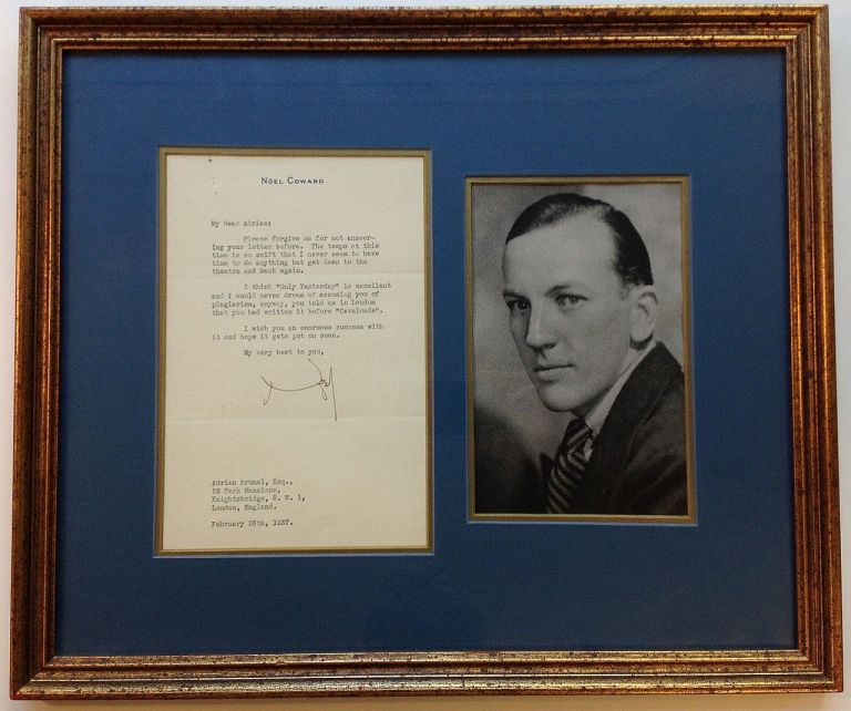 Framed Typed Letter Signed on personal stationery. Noel COWARD, 1899 - 1973.