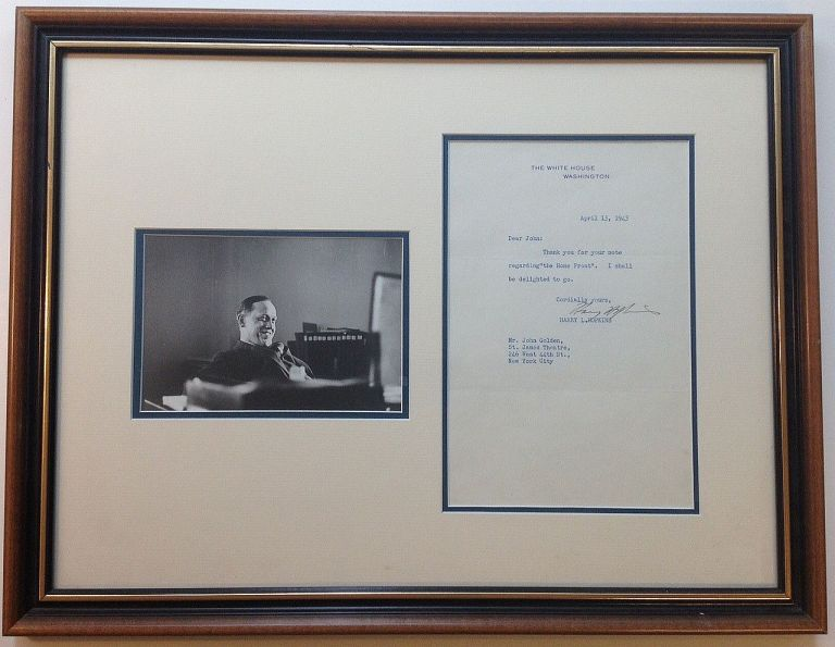 Framed Typed Letter Signed to a Broadway producer. Harry L. HOPKINS, 1890 - 1946.