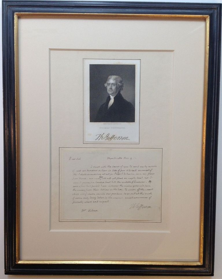 Framed Autographed Letter Signed during the War of 1812. Thomas JEFFERSON, 1743 - 1826.