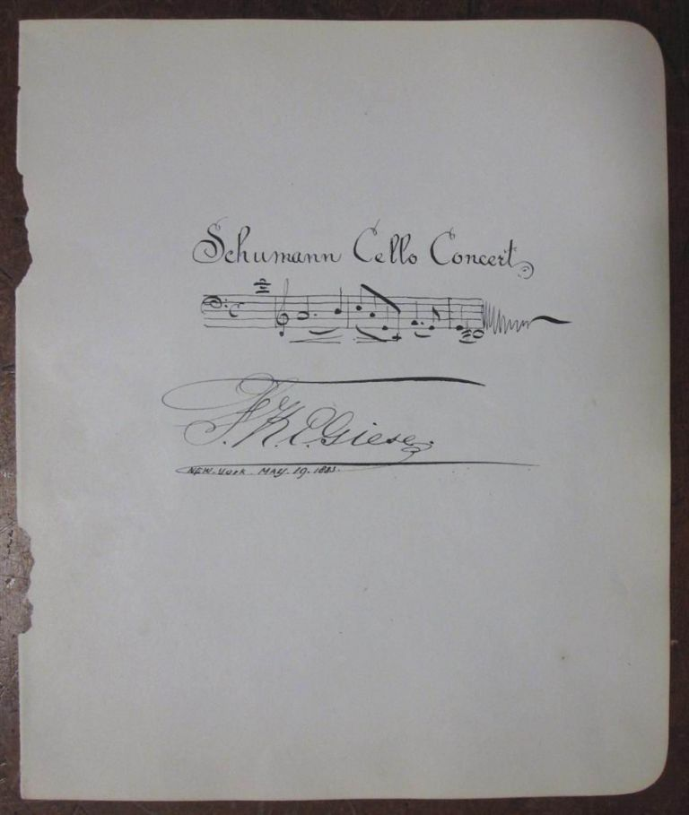 Autographed Musical Quotation. Fritz K. E. GIESE, 1859 - 1896.