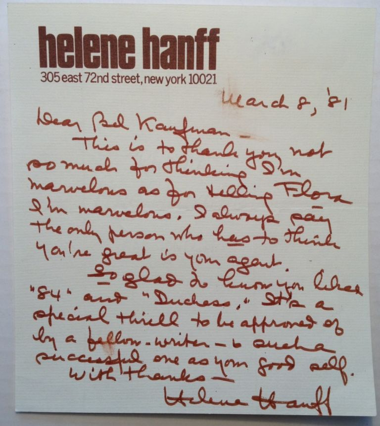 Autographed Letter Signed to a fellow writer. Helene HANFF, 1916 - 1997.