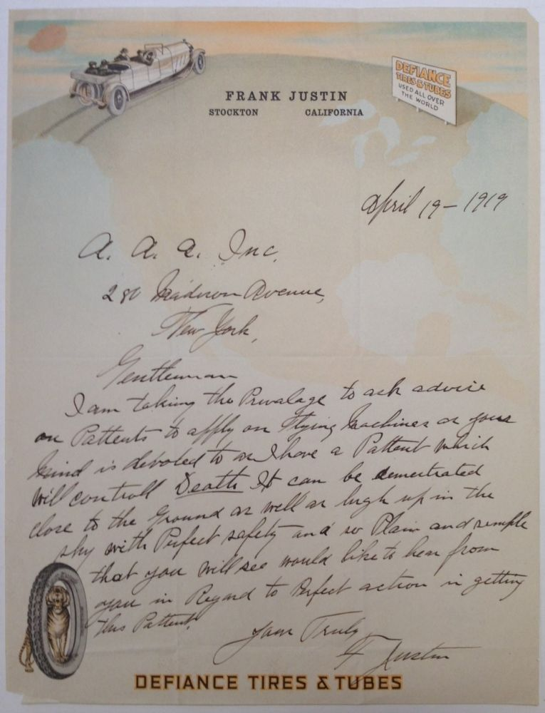 Cryptic Autographed Letter Signed by an inventor seeking a patent. AUTOMOBILE and AERONAUTIC HISTORY.