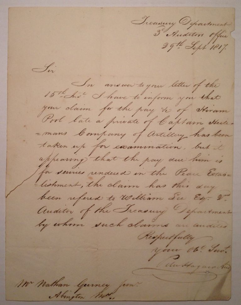 Autographed Letter Signed about a deceased soldier's back pay. WAR OF 1812.