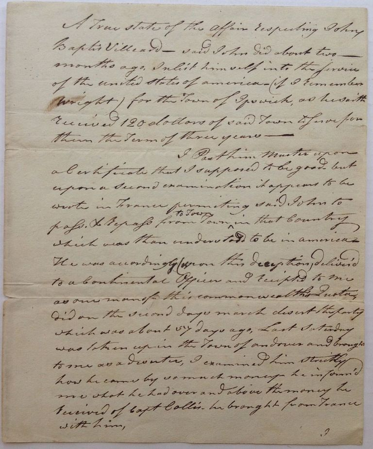 Two Autographed Documents Signed from the Continental Army. Major Joseph PETTENGILL, 1753 - 1833.