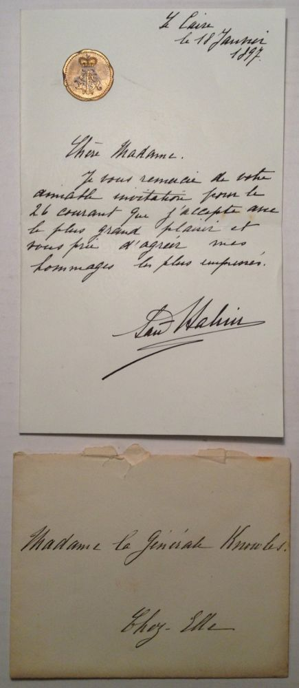 Rare Autographed Letter Signed in French. Said HALIM, Pasha, 1865 - 1921.