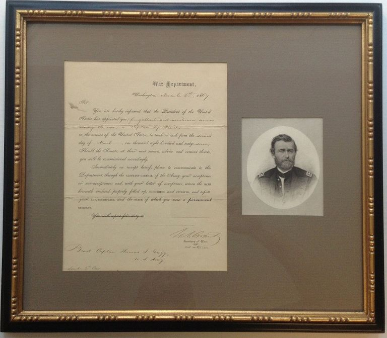 Framed Document Signed as ad interim Secretary of War. Ulysses S. GRANT.