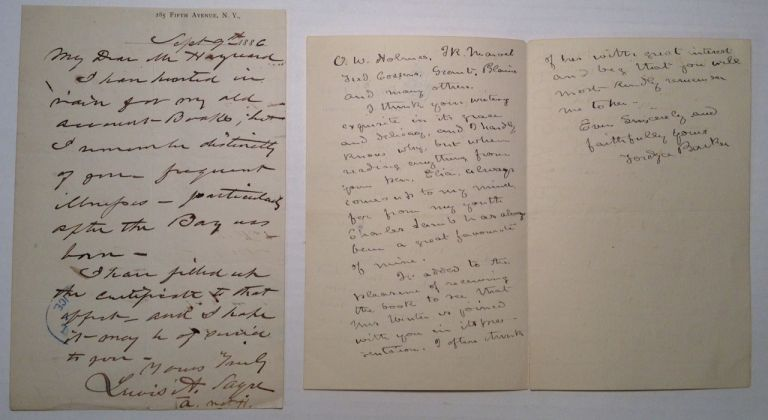 Two Autographed Letters Signed by the Co-Founders of Bellevue Medical College. BELLEVUE HOSPITAL.