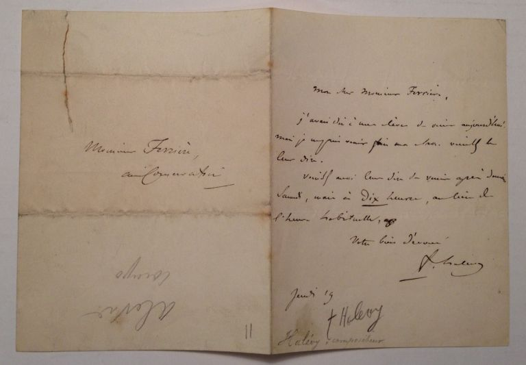 Apologetic Autographed Letter Signed. HALEVY, Jacques Fromental Elie Levy.