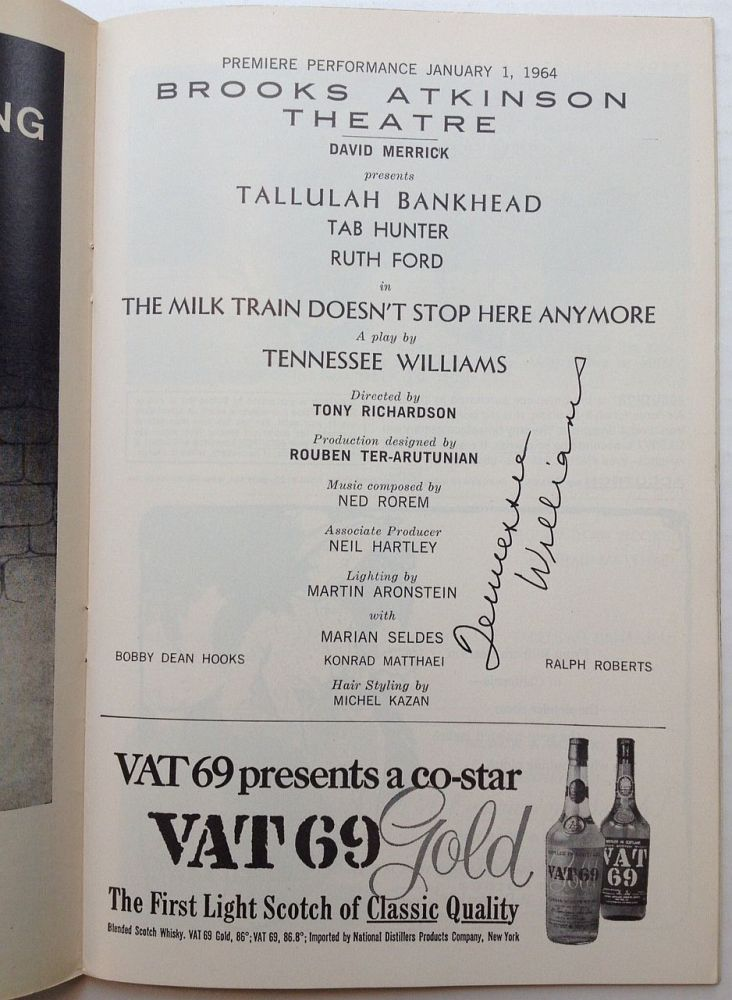 """Signed Playbill -- """"The Milk Man Doesn't Stop Here Anymore"""" Tennessee WILLIAMS, 1911 - 1983."""