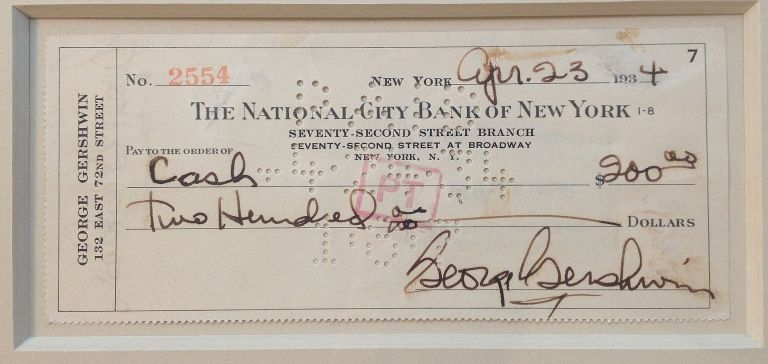 Signed Check Framed with Photo. George GERSHWIN, 1898 - 1937.