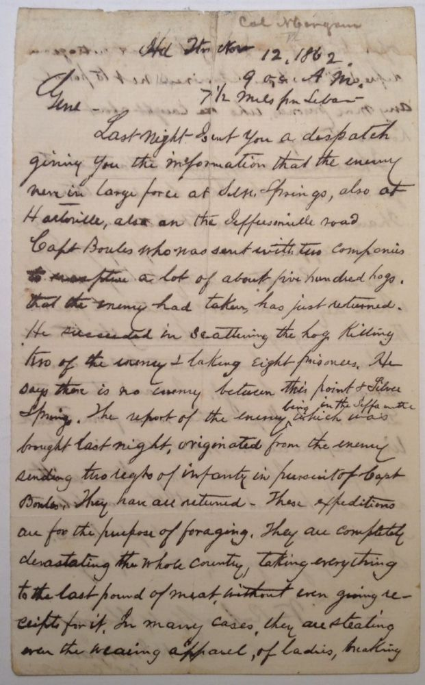 War-Date Autographed Letter Signed as Colonel to General Braxton Bragg. John Hunt MORGAN, 1825 - 1864.