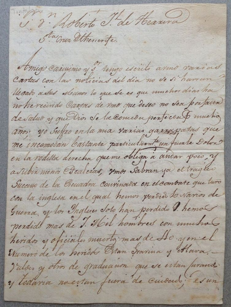 Extraordinary Autographed Letter Signed in Spanish. BATTLE OF TRAFALGAR.