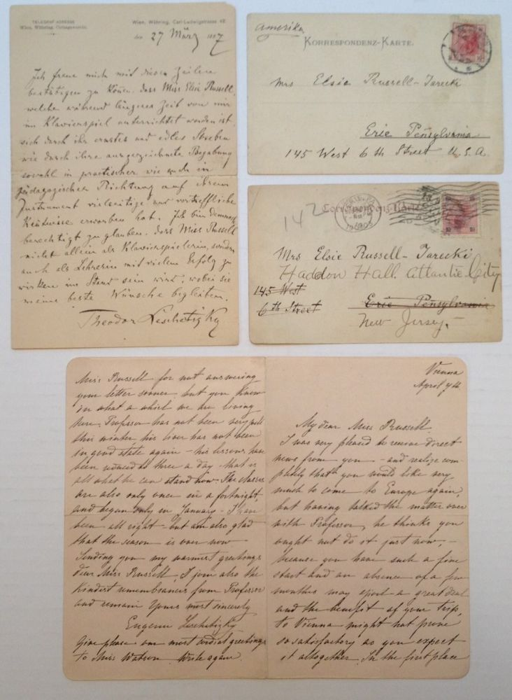 Four Autographed Notes and Letters. Theodor LESCHETIZKY, 1830 - 1915.
