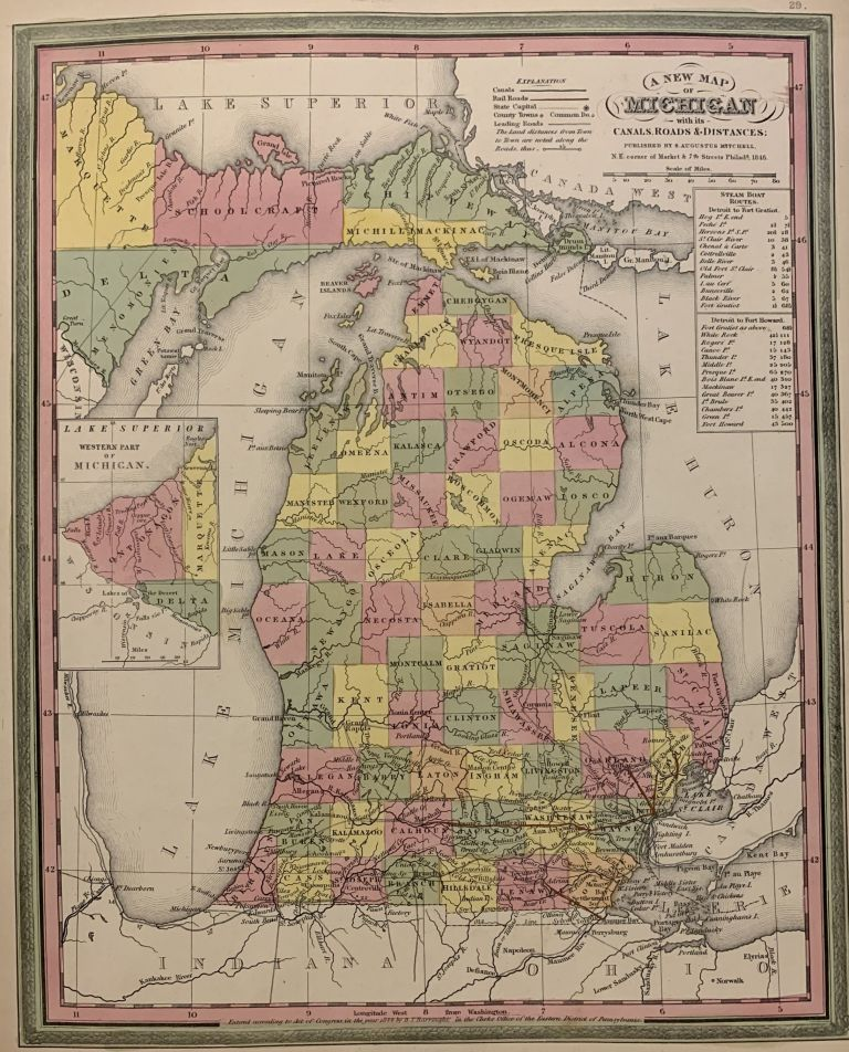 A New Map of Michigan with its Canals, Roads & Distances. Samuel Augustus Sr MITCHELL.