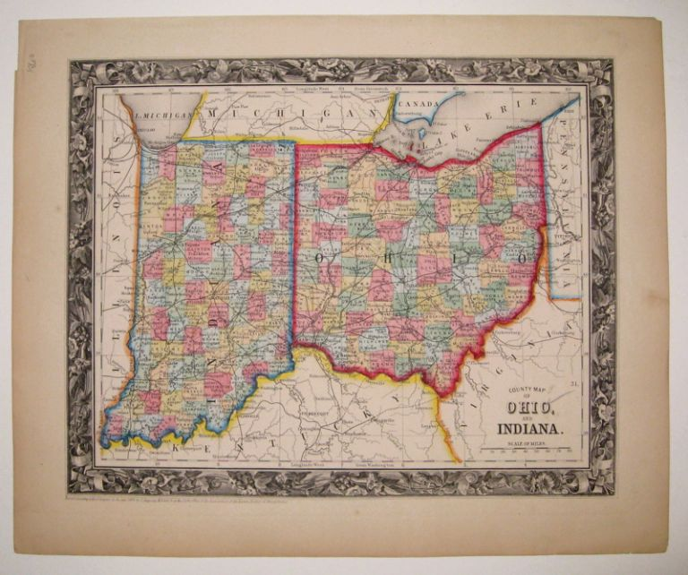 County Map of Ohio, and Indiana. Samuel Augustus Jr MITCHELL.