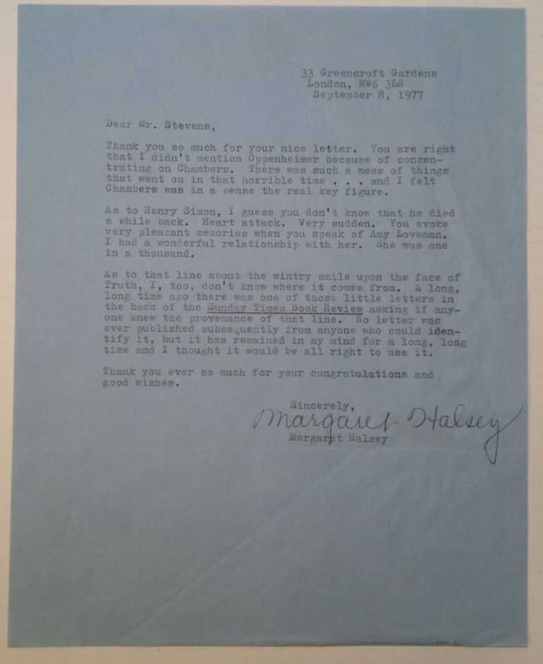 Typed Letter Signed. Margaret HALSEY, 1910 - 1997.