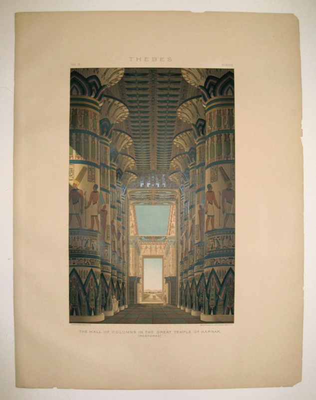 Thebes. The Hall of Columns in the Great Temple of Karnak, (Restored.). Samuel Augustus BINION.