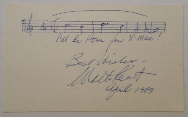 Autographed Musical Quote. Walter KENT, 1911 - 1994.