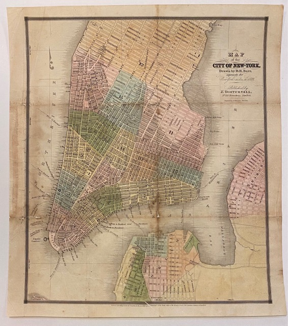 """Map of the City of New York Drawn by D.H. Burr, expressly for """"New York as it is in 1833."""" David H. BURR."""