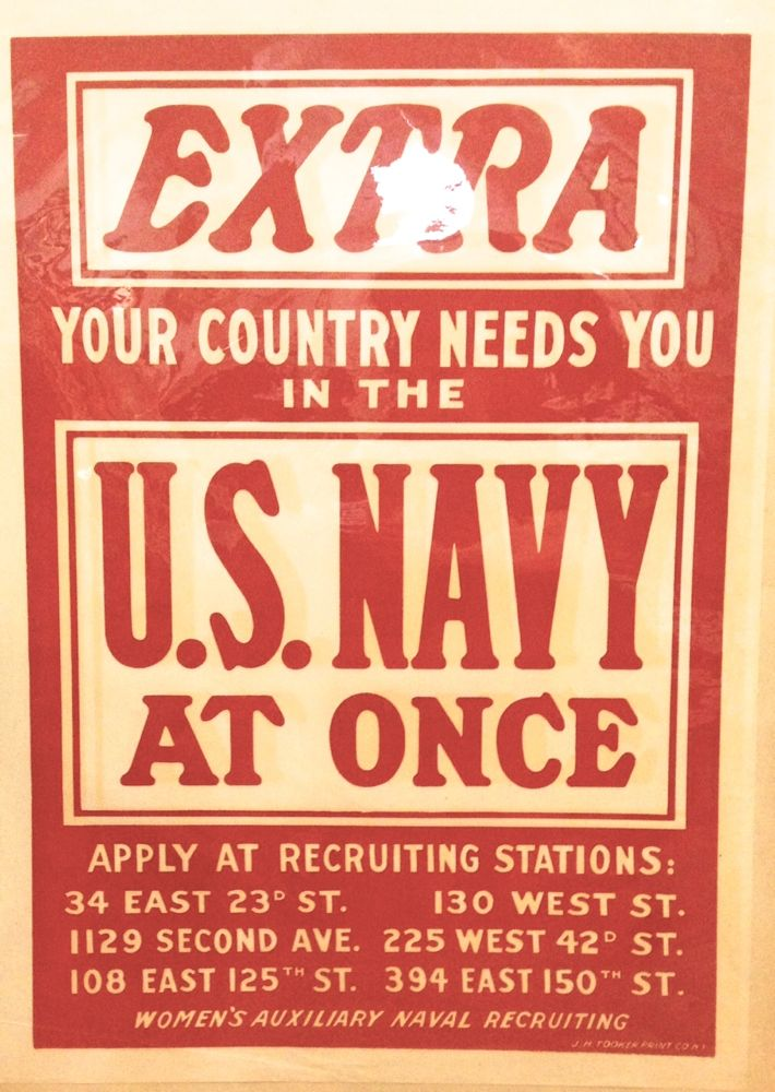 EXTRA Your Country Needs You In The U.S. Navy At Once. Women's Auxiliary Naval Recruiting.
