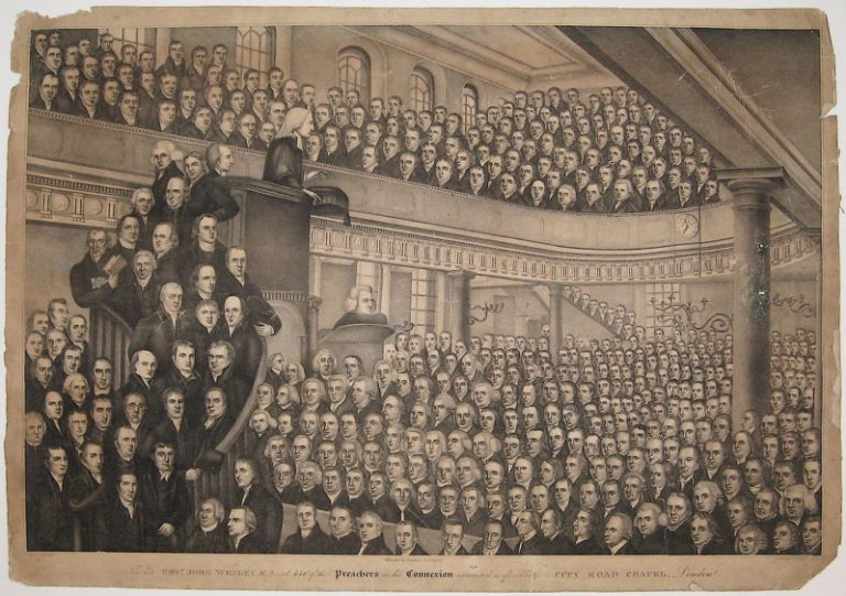 The late Revd. John Wesley, M.A. and 446 of the Preachers in his Connexion represented as assembled in City Road Chapel, London. Benjamin T. SANFORD.