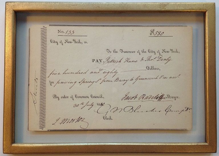Framed Partially Printed Document Signed about Early Greenwich Village. NEW YORK CITY.