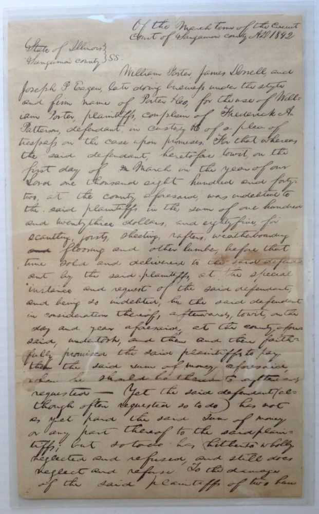 34-Line Document Written Entirely in Lincoln's Hand. Abraham LINCOLN, 1809 - 1965.