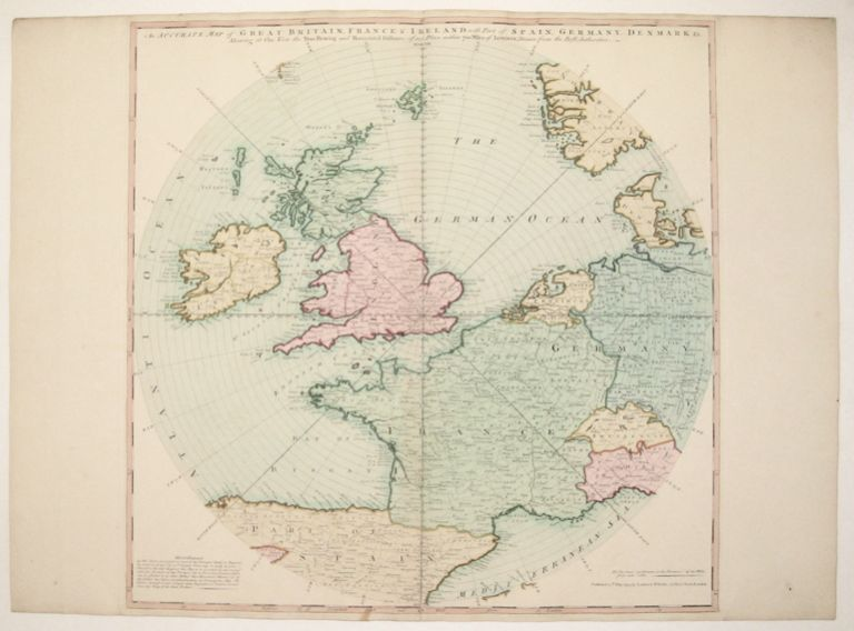 An Accurate Map of Great Britain, France & Ireland, with Part of Spain, Germany, Denmark &c. Showing at One View the True Bearing and Horizontal Distance, of any Place within 700 Miles of London; Drawn from the Best Authorities. LAURIE, WHITTLE.