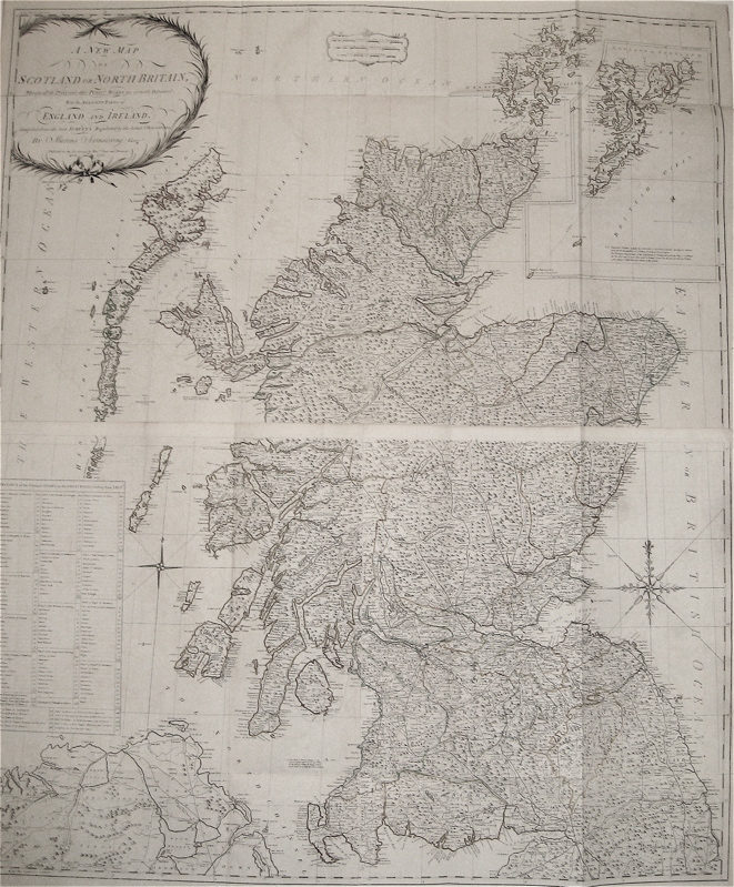 A New Map of Scotland or North Britain, Wherein all the Post and other Public Roads are correctly Delineated; with the adjacent parts of England and Ireland. Marcus ARMSTRONG.