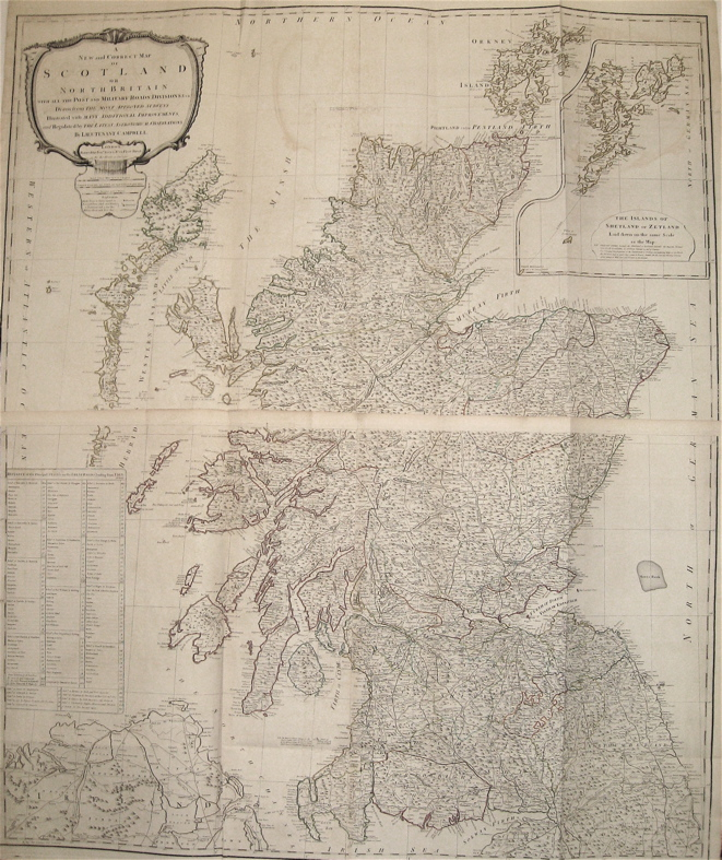 A New and Correct Map of Scotland or North Britain with all the Post and Military Roads, Divisions, &c. Robert SAYER.