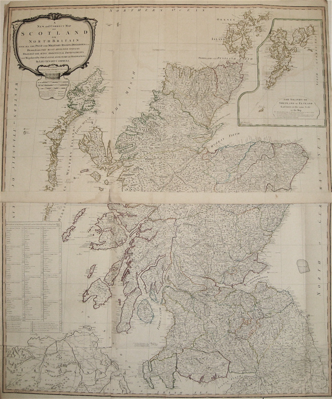 A New and Correct Map of Scotland or North Britain with all the Post and Military Roads, Divisions, &c. LAURIE, WHITTLE.