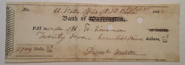 Cancelled Check signed in full. Daniel WEBSTER, 1782 - 1852.