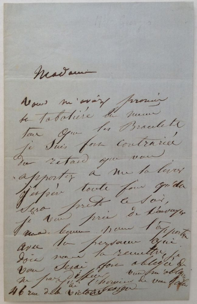 Autographed Letter Signed in French. Mademoiselle GEORGES, 1787 - 1867.