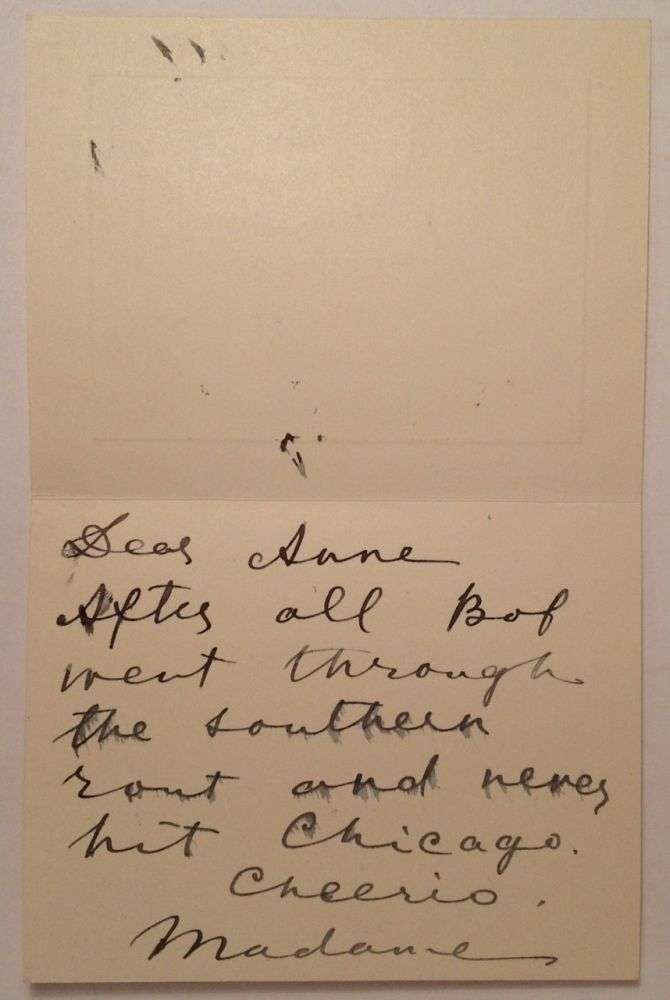 """Autograph Letter Signed """"Madame"""" on a Christmas card. Maria OUSPENSKAYA, 1876 - 1949."""