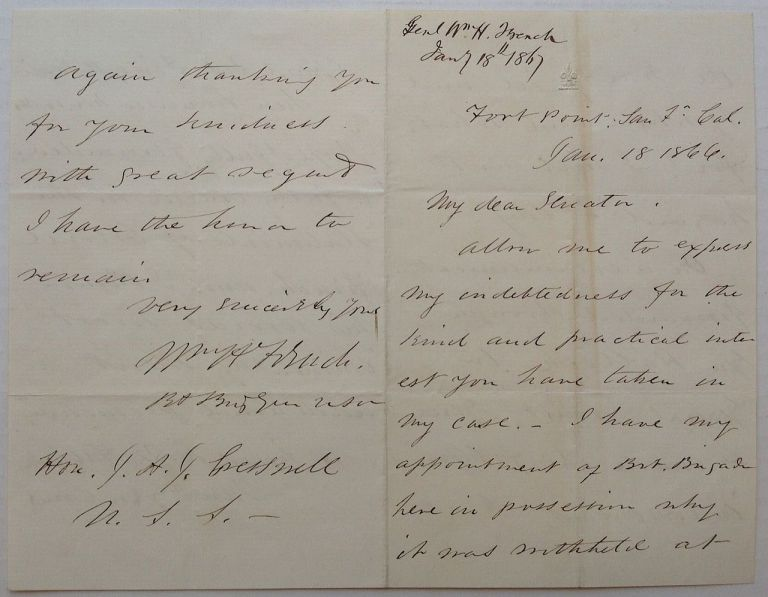 Autographed Letter signed. Gen. William H. FRENCH.