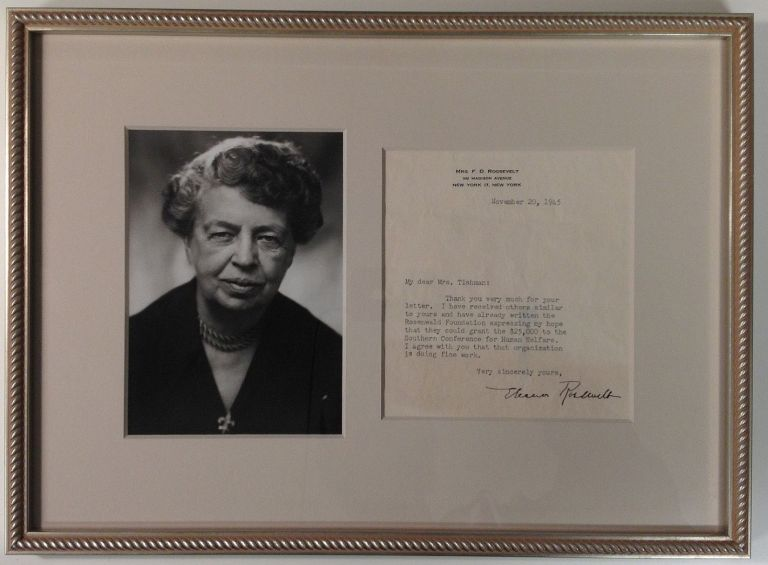Framed Typed Letter Signed on personal letterhead. Eleanor ROOSEVELT, 1884 - 1962.
