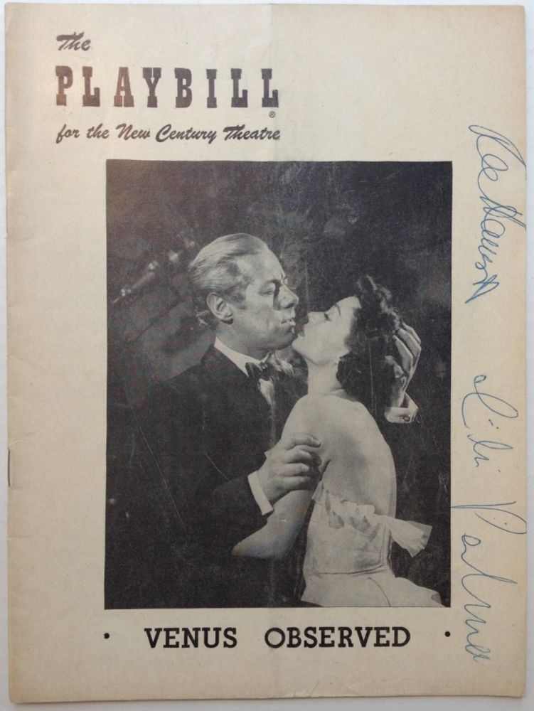 "Signed Playbill -- ""Venus Observed"" Rex HARRISON, 1908 - 1990."