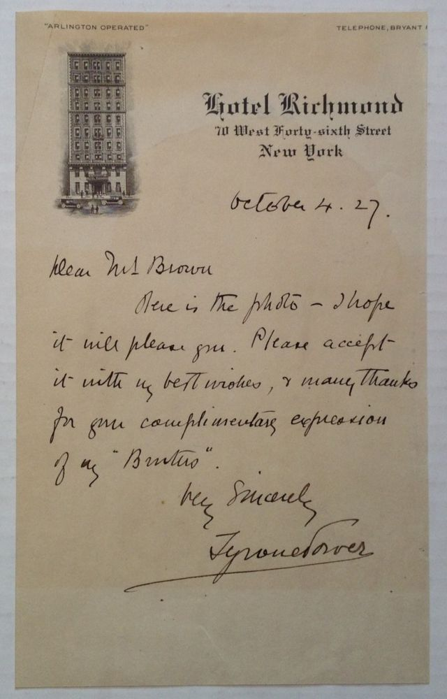 Autographed Letter Signed. Tyrone POWER, Senior II, 1869 - 1931.
