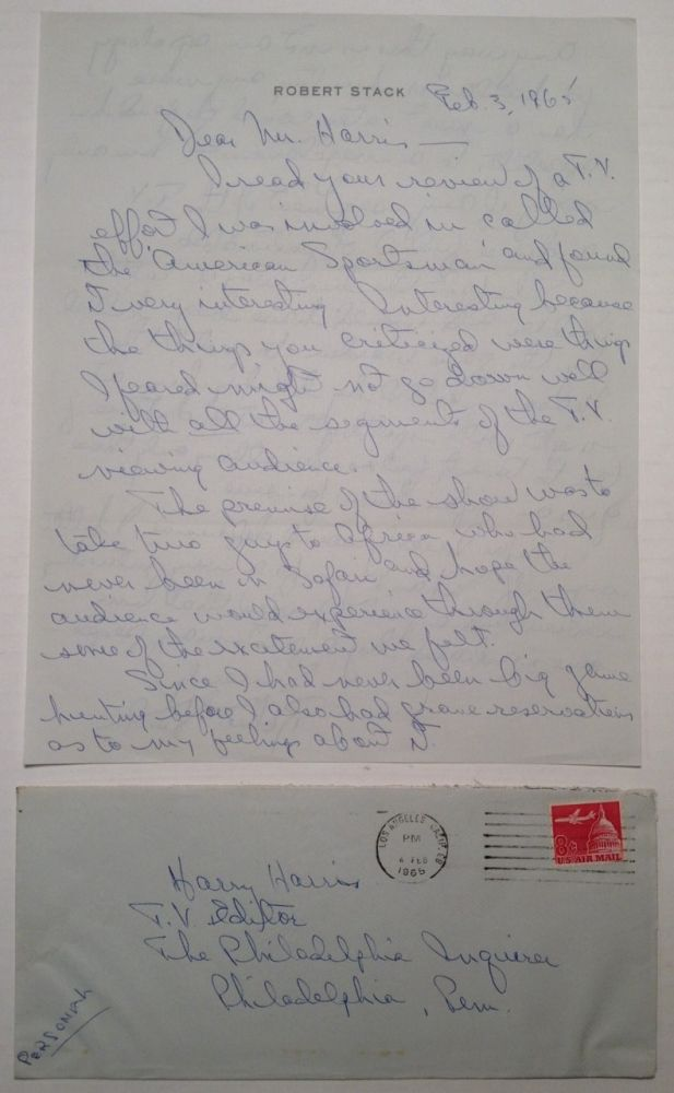 Autographed Letter Signed with excellent content. Robert STACK, 1919 - 2003.