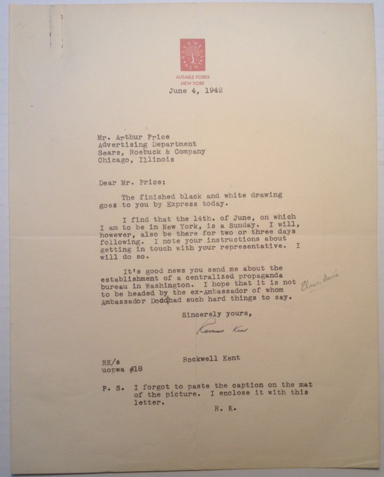 Typed Letter Signed on personal letterhead. Rockwell KENT, 1882 - 1971.