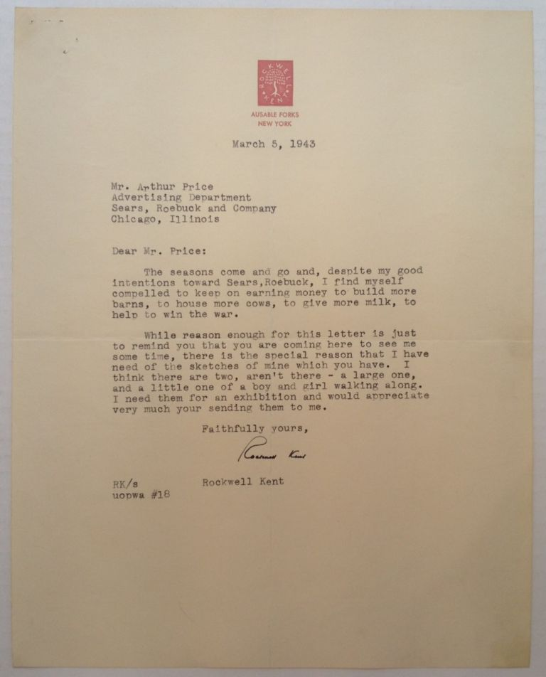 Typed Letter Signed on personal letterhead. ROCKWELL KENT, 1882 - 1943.