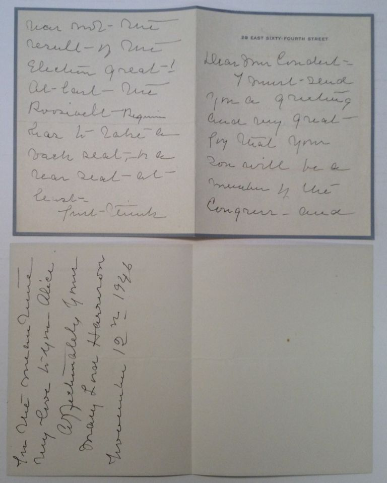 Autographed Letter Signed on personal letterhead. Mary Lord HARRISON, 1858 - 1948.