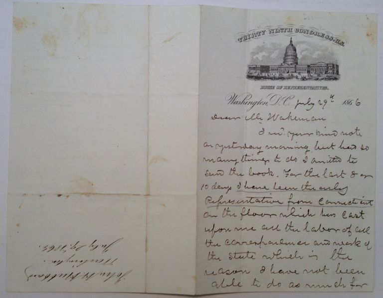 Autographed Letter Signed on House of Representatives letterhead. John Henry HUBBARD, 1805 - 1872.
