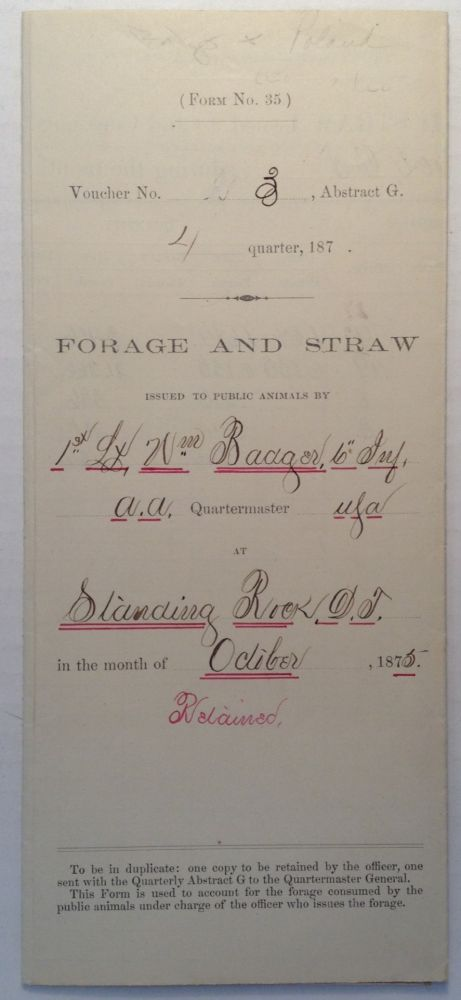 Signed Military Document. 7TH CAVALRY - THE ROAD TO LITTLE BIG HORN.